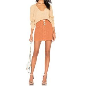 NWT Free People Hi Low Camel V-Neck Sweater